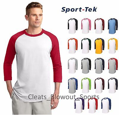 Mens Sport Tek Colorblock Raglan 3/4 Sleeve T-Shirt Cotton Baseball Jersey T200 (Colorblock Raglan Jersey Shirt)