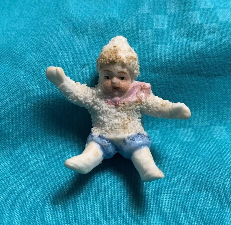 Antique Snow Baby - Boy in Pink Scarf and Blue Trousers Bisque German Figurine