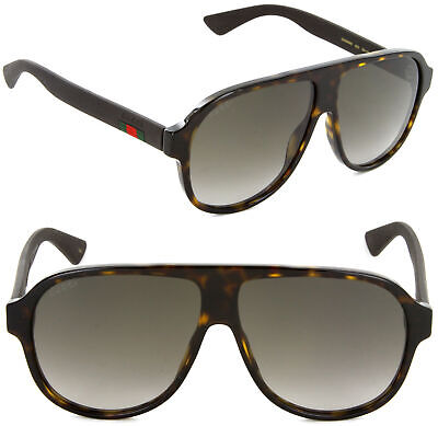 New Gucci GG0009S-003 59mm Aviator Sunglasses Havana / Brown (Gucci Aviator Sunglasses Brown)