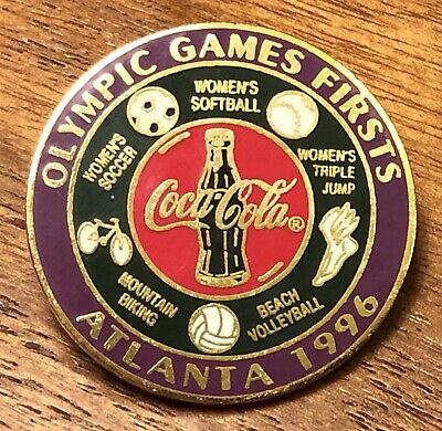Coca Cola Coke Olympic Games Firsts Atlanta 1996 Lapel Hat Pin Pinback ~ Georgia