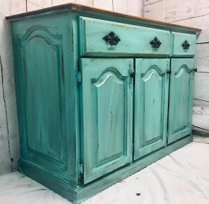 Refinished Rustic Farmhouse Teal Sideboard/Buffet