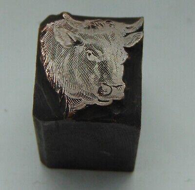 Vintage Printing Letterpress Printers Block Farm Animal Bull