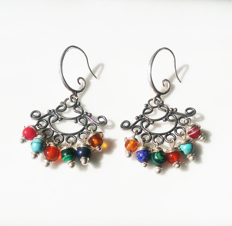 Raindrops Multi Coloured Sterling Silver Chandelier Earrings