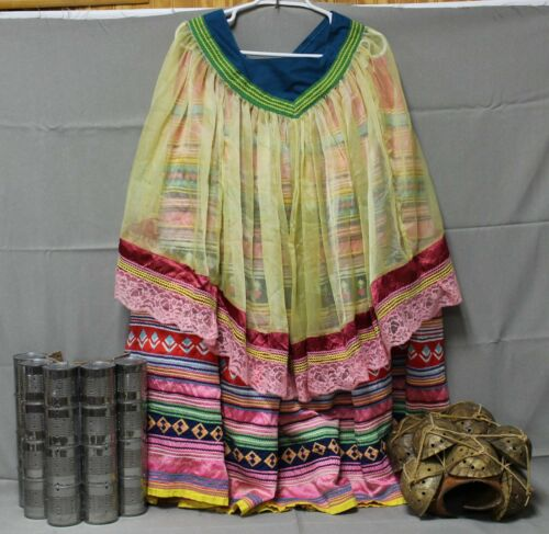 Native American Seminole Miccosukee OLD Patchwork Womens Pink Skirt Cape Set XL