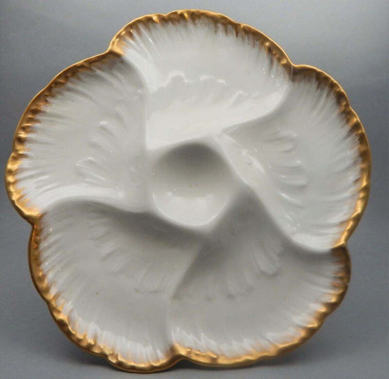 CH Field Haviland Limoges France Porcelain Oyster Plate, c1880 Good Condition
