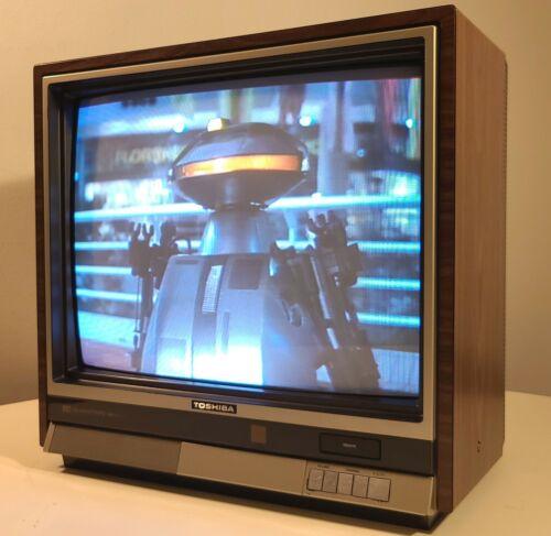 "TOSHIBA BLACKSTRIPE VINTAGE TELEVISION SET 20"" COLOR TV 1985 w/ POP-OUT REMOTE"