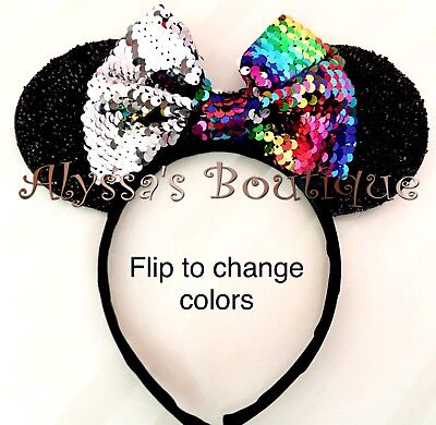 Minnie Mouse Black Ears Headband Flip Sequin Color Changing Bow Rainbow - Minnie Mouse Coloring