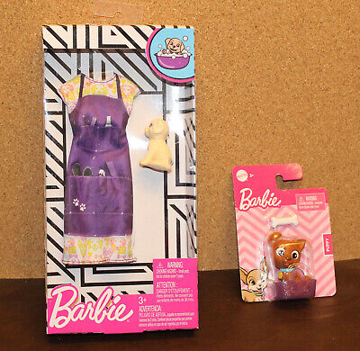 NEW Mattel Barbie Careers Pet Groomer Fashion Pack Dress & Puppy Dogs