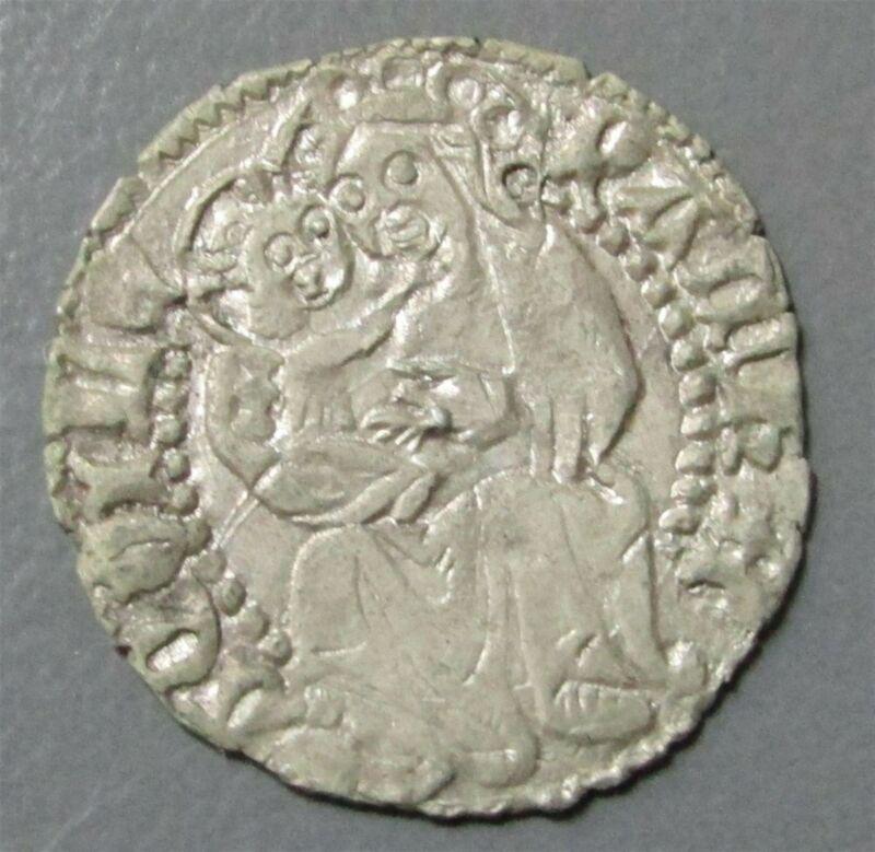 1412-1420 AD SILVER ITALY AQUILEIA DENARO LUDOVICO II MADONNA & CHILD