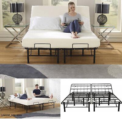 Queen Size Adjustable Bed Frame Head Lift Control Bedroom Metal Platform Base, used for sale  Newark