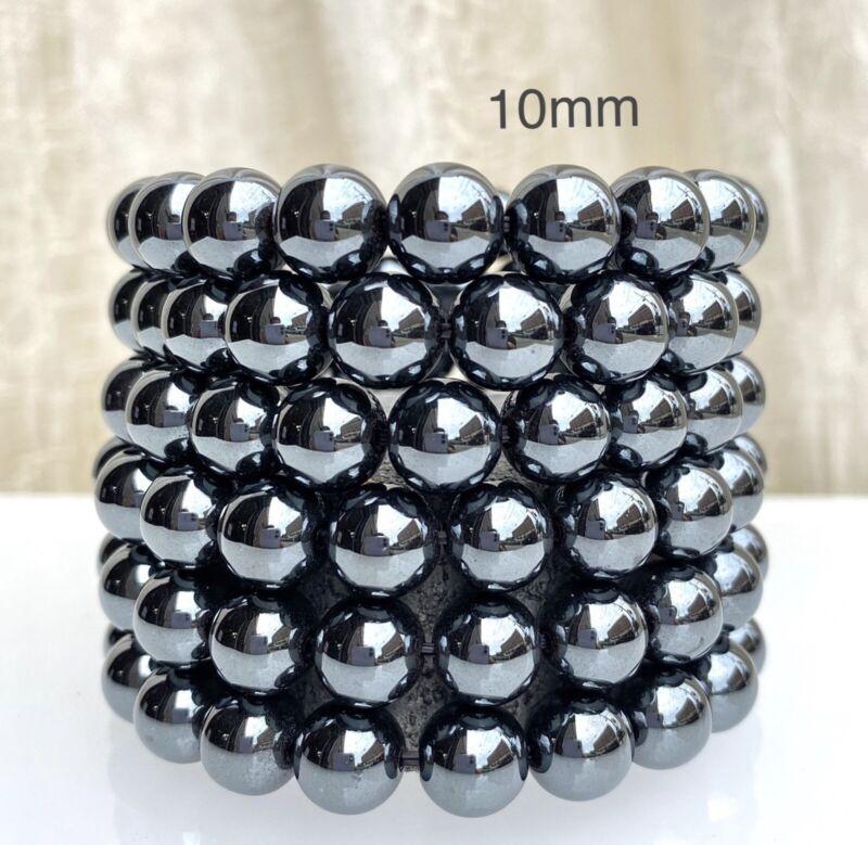 "Wholesale Lot 6 Pcs Natural Hematite 10mm 7.5"" Crystal Healing Stretch Bracelet"