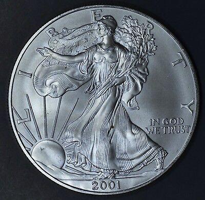 2001 1 oz AMERICAN SILVER EAGLE BRILLIANT UNCIRCULATED ASE  SKU2001B