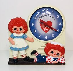 Vintage 1974 Equity Janex Raggedy Ann & Andy talking alarm clock I Love You