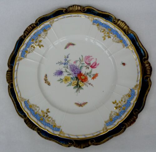 Kpm Splendid Large Plate  Palace Floral, Butterflies and Gilding Decoration