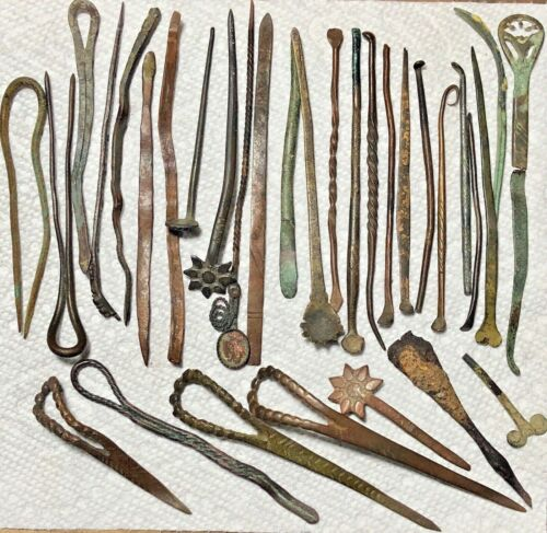 Antique Javanese Hairpins / Hatpins, Vintage Indonesian Woman's Accessories Lot