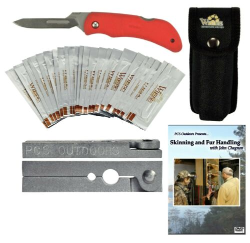 Fur Handling Kit - Red Fox Folding Skinning Scalpel Knife, DVD & Tail Stripper
