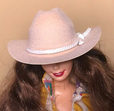 Tan BARBIE DOLL Scale COWBOY HAT with Removable White Rope Hatband