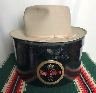 Vtg 1940s STETSON Western Fedora w/ Box 7 1/4 ~ WIDE BRIM open road Cowboy Hat