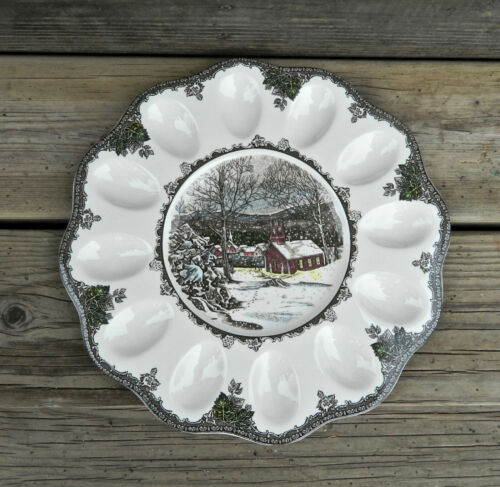 """JOHNSON BROTHERS """"THE FRIENDLY VILLAGE"""" PATTERN 11 3/4"""" DEVILED EGG PLATE"""