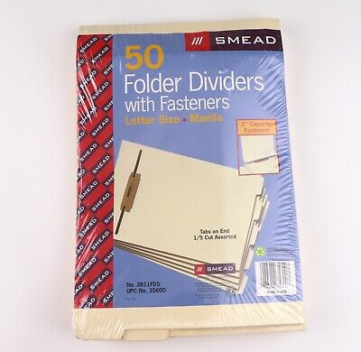 Smead End-tab Letter Size Manila Folder Dividers W Fasteners 50 Pack No. 35600