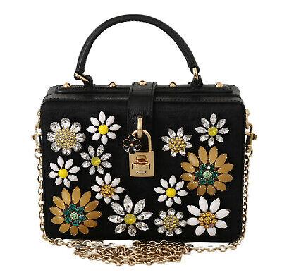 DOLCE GABBANA Bag Purse Box Black Brocade Leather Crystal Shoulder RRP $3200