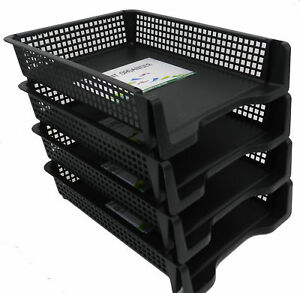 4 Tier Stackable Desk Black A4 Letter Tray Filing Document Organiser Form Paper