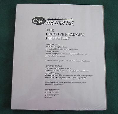 Creative Memories   8X10 White Refill Scrapbook Pages 15 Sheets   Many Avail Nip
