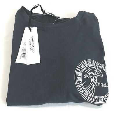 VERSACE COLLECTION MENS SHORT SLEEVE T-SHIRT  NAVY/WHITE  SMALL  NWT