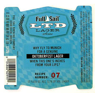 Full Sail Brewing OKTOBERFEST LAGER label OR 12oz LTD LAGER SERIES RECIPE - Oktoberfest Recipes