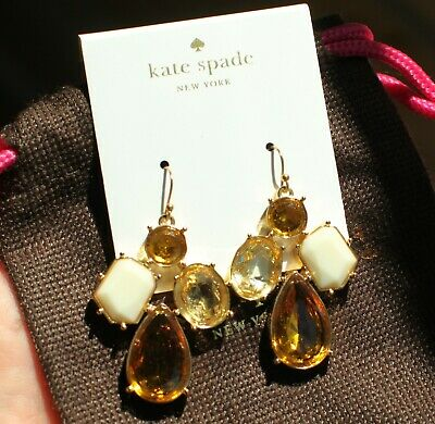 KATE SPADE NY CLUSTER PALACE GEM CRYSTAL COURT DROP EARRINGS WHITE GOLD TOPAZ