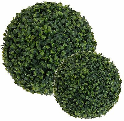 - 2 x Artificial Hanging Topiary Buxus Balls Faux Boxwood Plant Garden Patio Decor