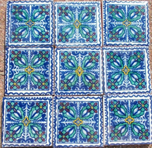 """30~Talavera Mexican pottery 2"""" Tile Classic mint green gold maroon off white"""