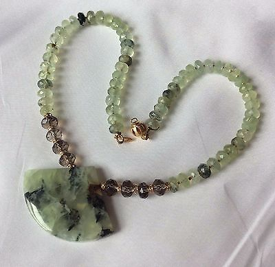 (Natural green prehnite & smoky quartz necklace genuine Swarovski Beads 14K gold )