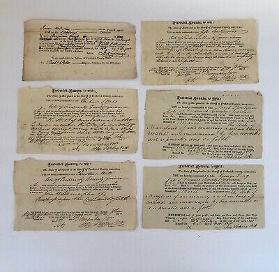 1787-1816 FREDERICK COUNTY, MARYLAND Court Documents (6) - SUMMONS - SHERIFF