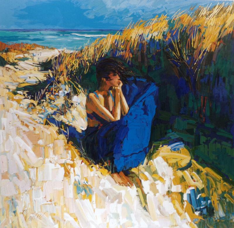 "Nicola Simbari ""brise"" Hand Signed Framed Serigraph Fine Art, Girl On Beach Obo*"