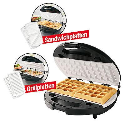 gourmetmaxx Vario Chef 3in1 Keramik Waffeleisen Sandwichmaker und Grill