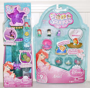 Squinkies Ariel Little Mermaid & Scepter Dispenser Disney Princess 2 Set NEW