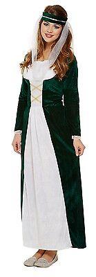 Damen-Grün Mittelalterliche Maid Historisch Damen Gothik Kostüm Kleid Outfit