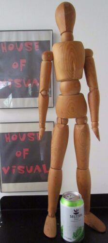 "Vtg Mannequin Wood Form Articulating 31.5"" Tall Vtg 2 Foot Mannikin Artist Model"