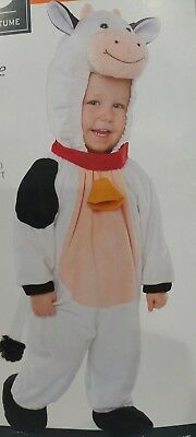 PLUSH COW HOODED JUMPSUIT COSTUME 3t-4t BLACK WHITE INFANT/TODDLER HALLOWEEN - Cow Toddler Halloween Costume