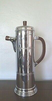 Vintage Farber Brothers Chrome Cocktail Shaker With Brown Catlin Handle Art Deco