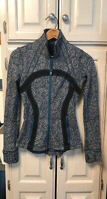 Lululemon Jacket Zip Up Thumbholes Green Teal Black Multi Define Stride - 2 XS