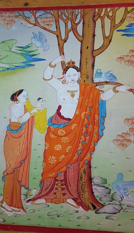 Rare Genuine MasterPiece Tibetan  thangka Painting Of Buddha & Mother.