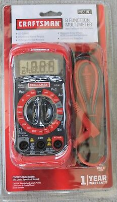 Craftsman Multi Meter Digital With 8 Functions And 20 Ranges 34-82141  New