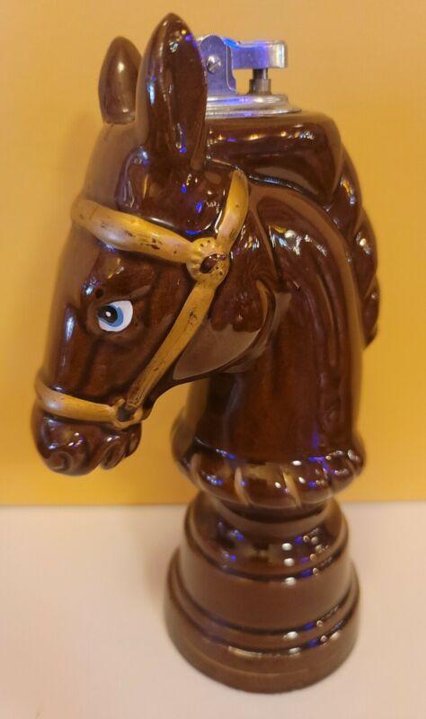 Vintage Redware Pottery Horse Bust Table Lighter Japan
