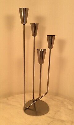 Mid Century Modern 18/8 Stainless 4 Candle Holder Modernist Denmark
