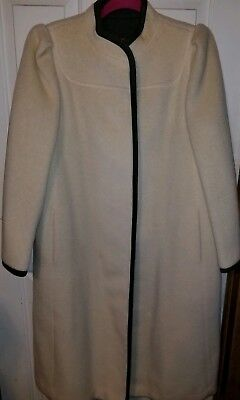 Womens Domino (Domino New York Coat 100% Wool Ivory with Gray Trim Womens Small long Dress Coat)