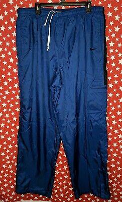 VTG 90s NIKE Mens Nylon Windbreaker Pants Meshed Lined 2XL Blue A016