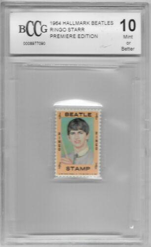 "RINGO STARR DRUMMER 1964 PREMIERE BECKETT BCCG 10 GRADED STAMP ""THE BEATLES"""