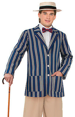 Blue Boater Jacket Mens Fancy Dress Costume Roaring 1920S Vitorian Outfit New